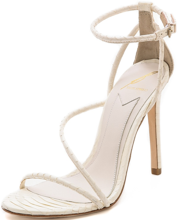 "B Brian Atwood ""Labrea"" Snakeskin Sandals in White"