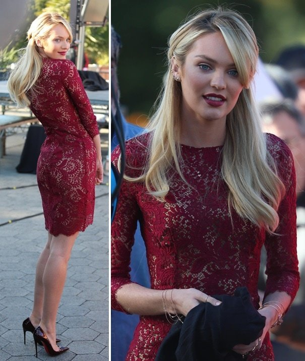 Candice Swanepoel wearing a lace dress and matching pointy stilettos