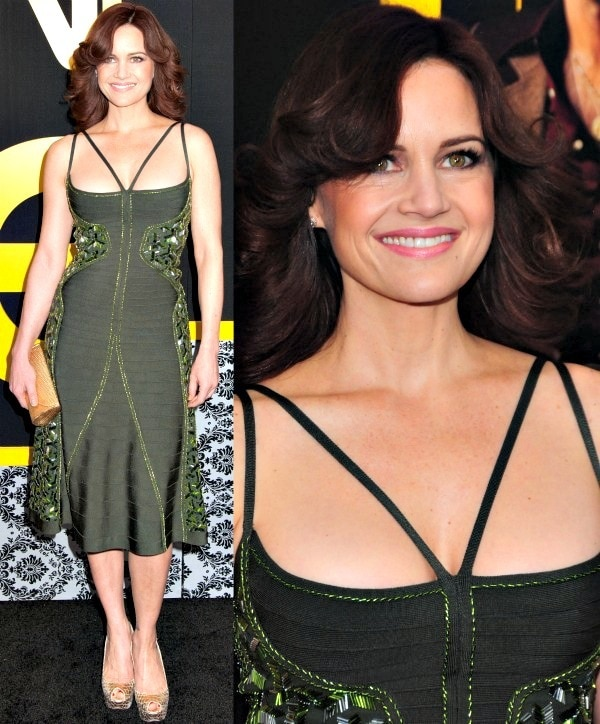 Carla Gugino at the world premiere of American Hustle at Ziegfeld Theatre in New York City on December 8, 2013