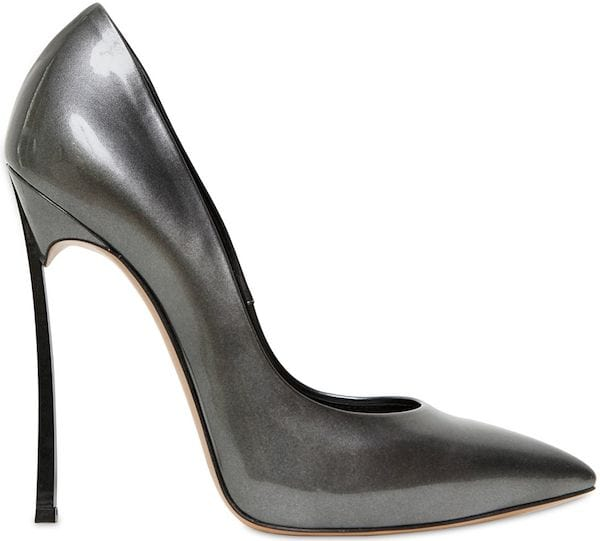 "Casadei ""Blade"" Pumps in Gray Patent Leather"