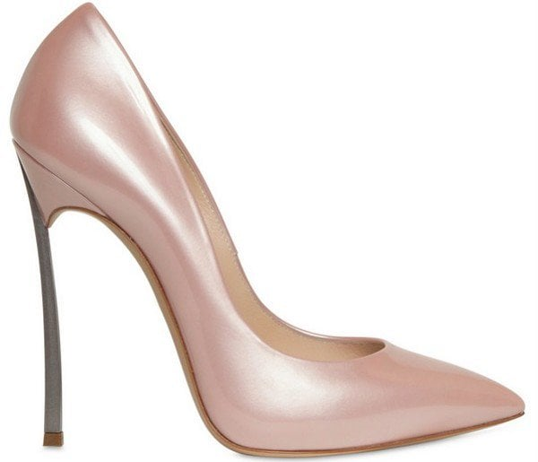 "Casadei ""Blade"" Pumps in Pearly Beige Patent Leather"