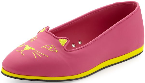 Charlotte Olympia Capri Cat-Face Rubber Flats in Bubble Gum and Yellow
