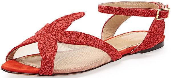 "Charlotte Olympia ""Sandy"" Beaded Starfish Sandals"