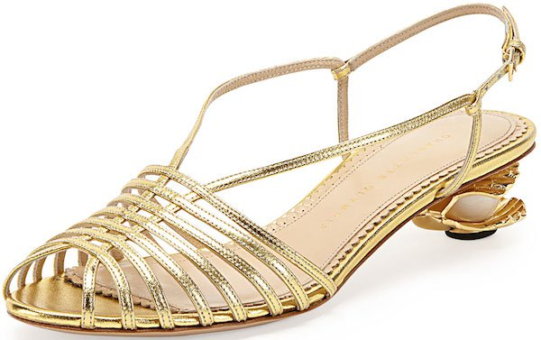 "Charlotte Olympia ""Shelly"" Seashell-Heeled Sandals"