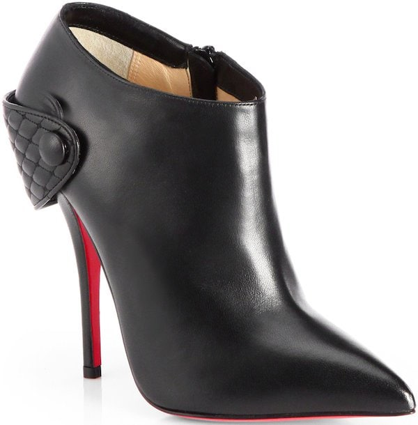 Christian Louboutin Huguette Leather Moto Ankle Boots in Black