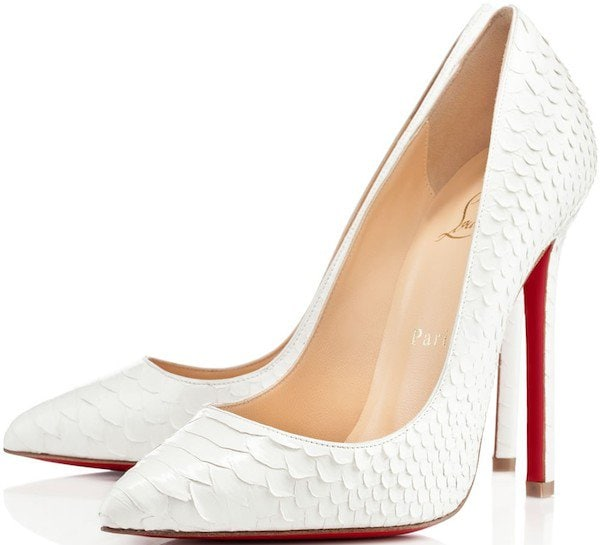 """Christian Louboutin """"Pigalle"""" Python Pumps in White"""