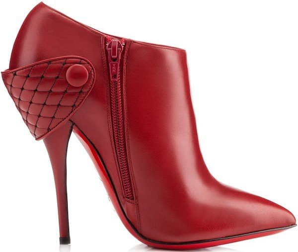 "Christian Louboutin ""Huguette"" Leather Ankle Boots in Rogue Imperial"