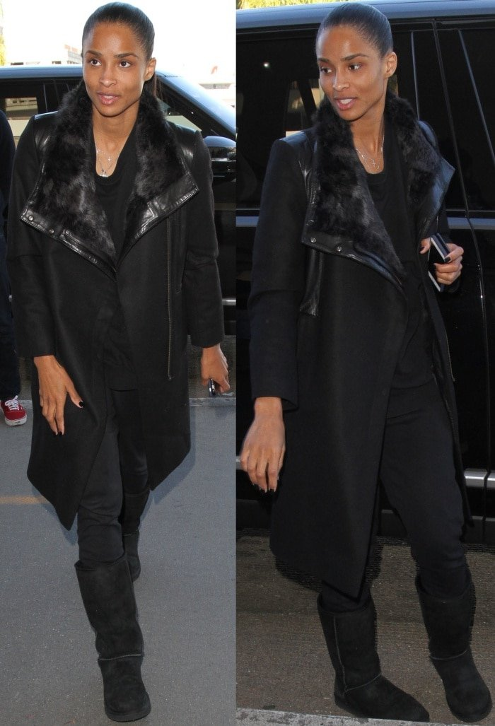 Ciara wearing Ugg boots with jeans