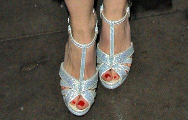 Daisy Lowe's feet inglittering sandals from Nicholas Kirkwood