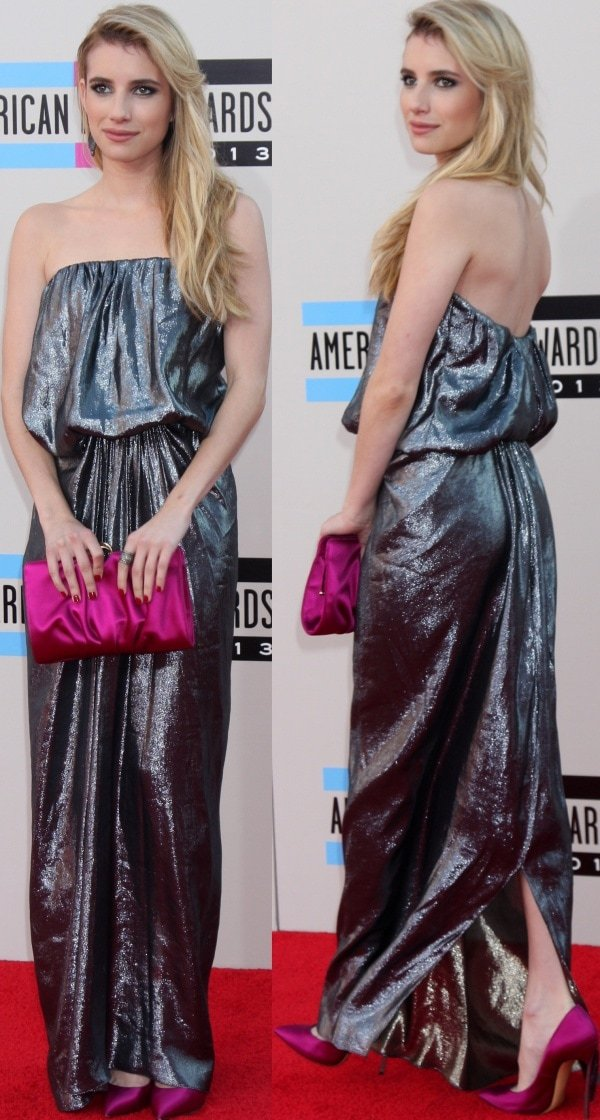 Emma Roberts stunned on the red carpet in a metallic strapless gown from Lanvin