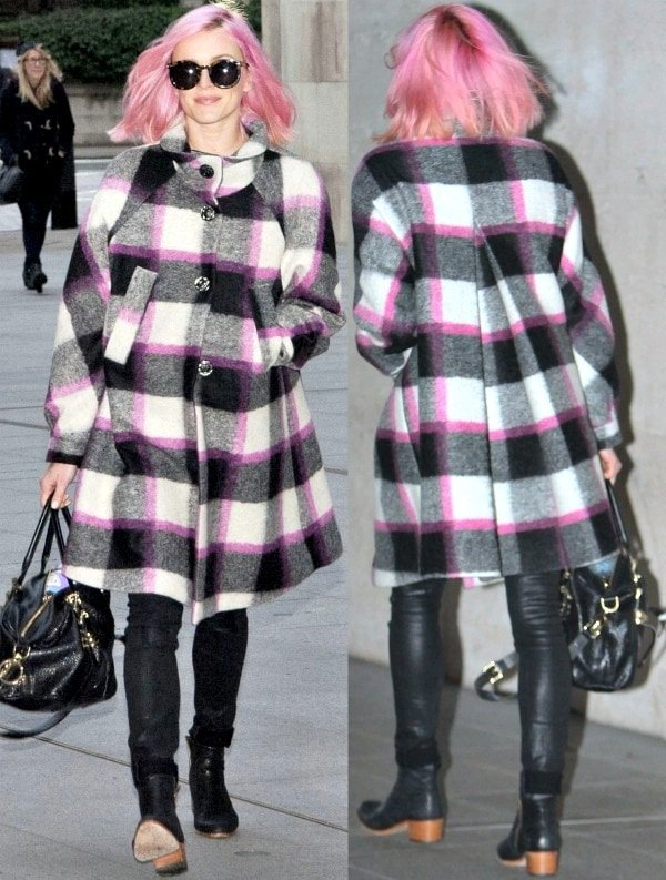 Fearne Cotton looking like a delectable sugary confection with her bubblegum pink hair and checkered coat with pink details
