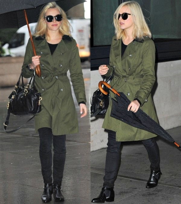 Fearne Cotton an olive green trench coat from her own fashion line