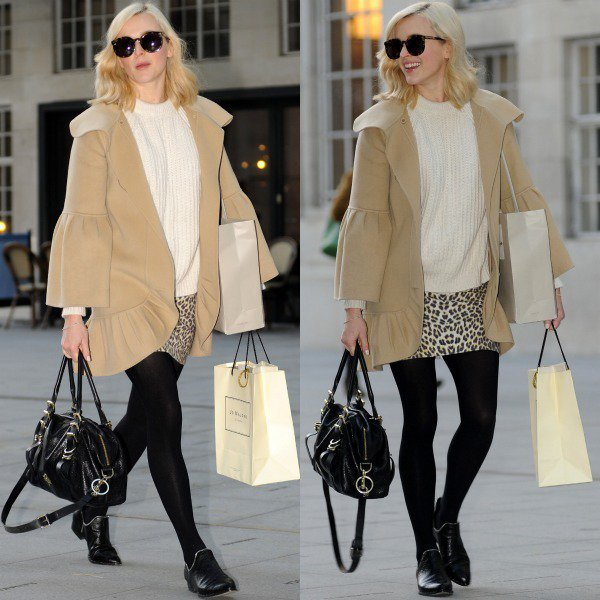 Fearne Cotton arriving in a cream-colored sweater paired with a leopard-printed miniskirt