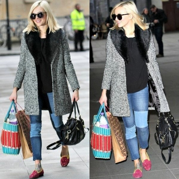 Fearne Cotton's glamorous herringbone coat with a faux fur collar