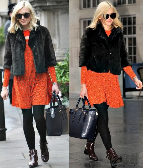 Fearne Cotton in a fur coat from Juicy Couture over a swing dress with a flirty peek-a-boo cutout