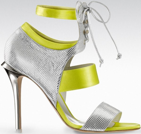 "Gio Diev ""Melbourne"" Open-Toe Lace-Up Strap Booties in Yellow and Silver"