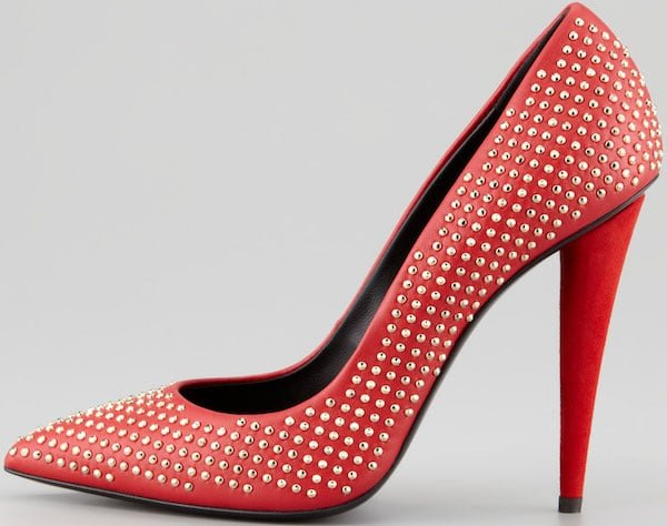 "Giuseppe Zanotti ""Ester"" Studded Pumps in Red"