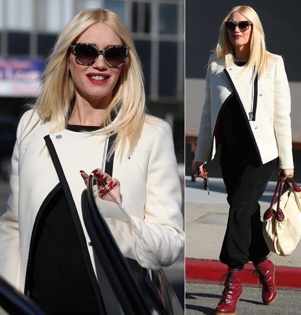 Gwen Stefani wears her blonde hair down while out and about in West Hollywood