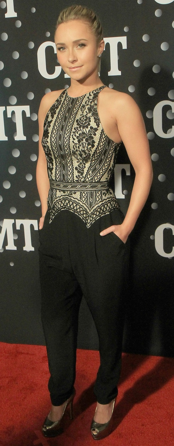 Hayden Panettiere's lace-top fitted jumpsuit