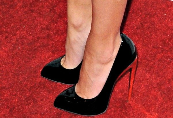 Hayden Panettiere in black patent leather pumps from Giuseppe Zanotti