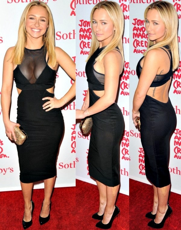 Hayden Panettiere showed off major cleavage in a black Bec & Bridge racer-back dress with cutout details and mesh panels