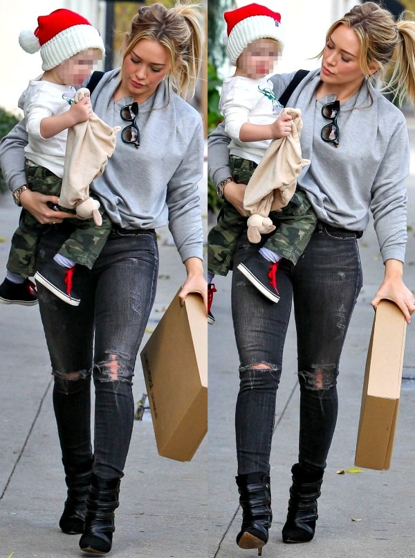 Hilary Duff wearing a gray sweatshirt from James Perse while out with her son Luca