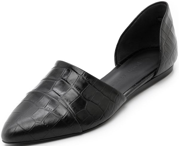 Jenni Kayne D'Orsay Flats in Black Croc-Embossed Leather