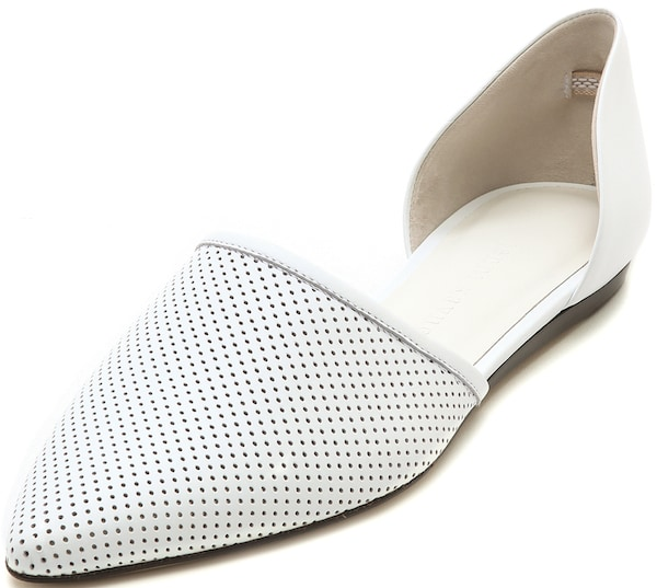 Jenni Kayne D'Orsay Flats in White Perforated Leather