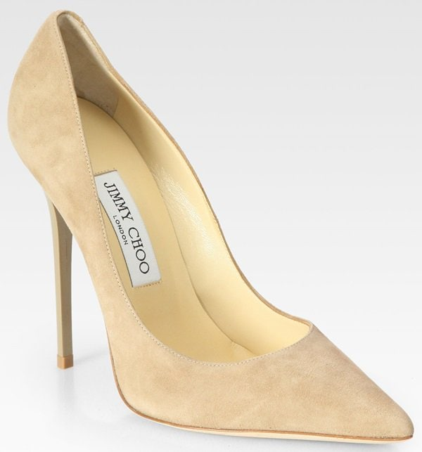 "Jimmy Choo ""Anouk"" Pumps in Nude Suede"