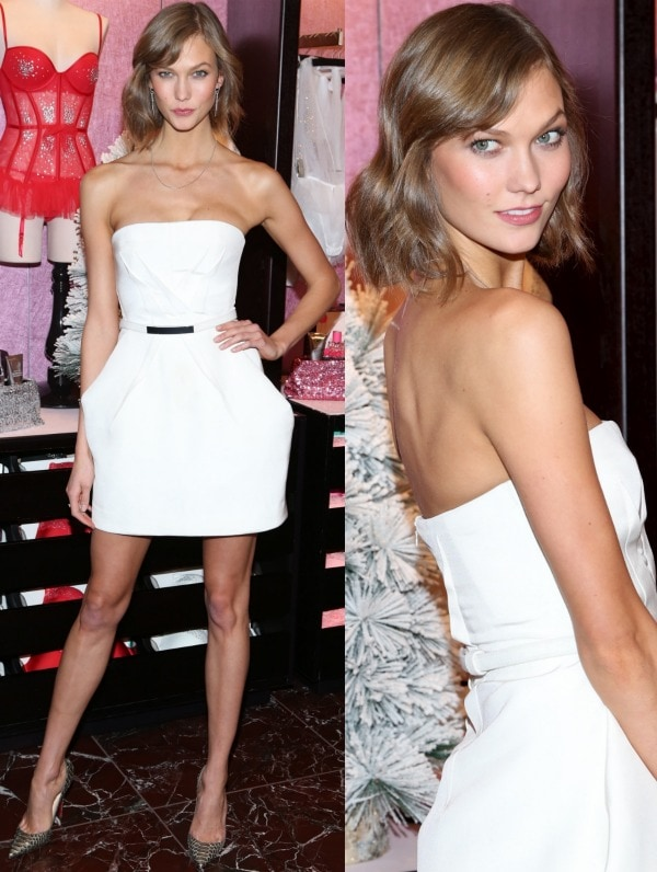 Karlie Kloss exuded charm and class in a strapless white frock with exaggerated pleat details, side pockets, and a metallic waistband from KaufmanFranco's Resort 2014 collection