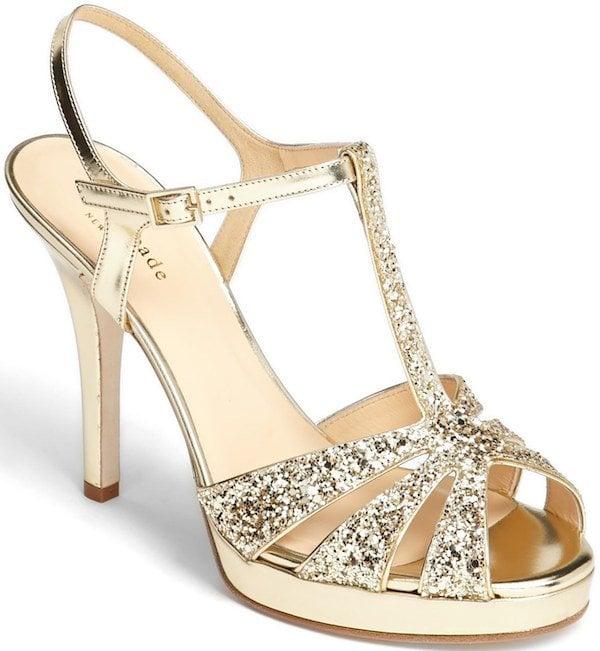 "Kate Spade ""Rosie"" Sandals in Gold Glitter"