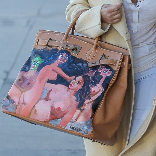 Kim Kardashian'sone-of-a-kind Hermes Birkin bag with a hand-painted image of nude women by American artist George Condo