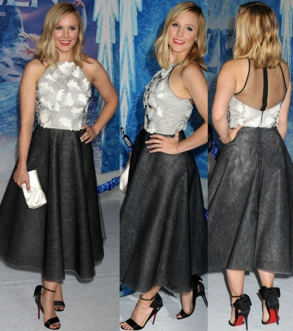 Kristen Bell in a halterneck frock with an embroidered bodice and a full skirt from Sachin + Babi's Spring 2014 collection