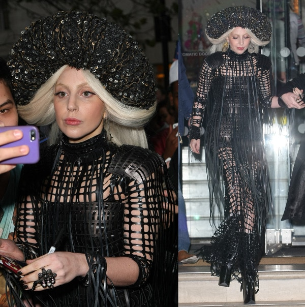 Lady Gaga's black leather outfit featuring a striking black headdress reminiscent of Renaissance fashion