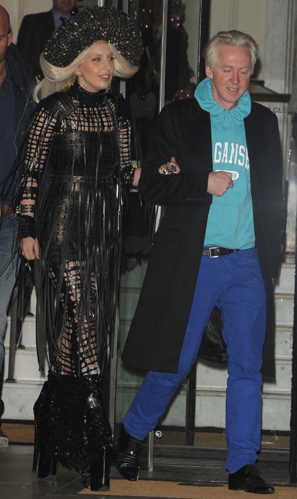 Lady Gaga and Philip Treacy stepping out of a hotel in London on December 7, 2013