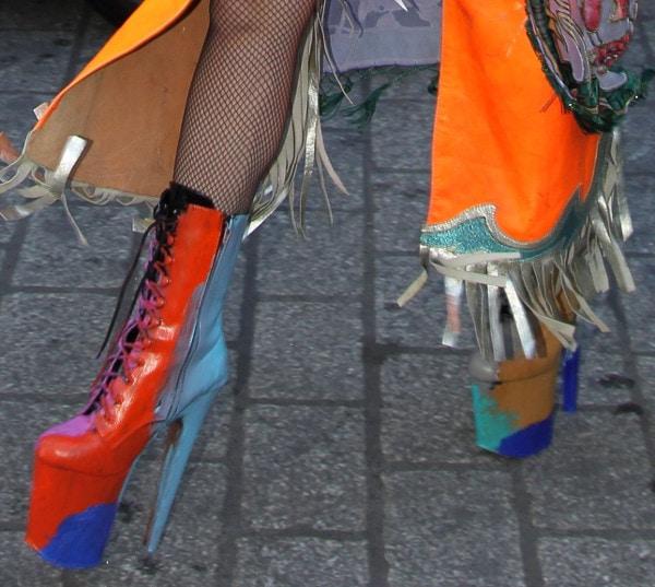 Lady Gaga rockspsychedelic platform boots