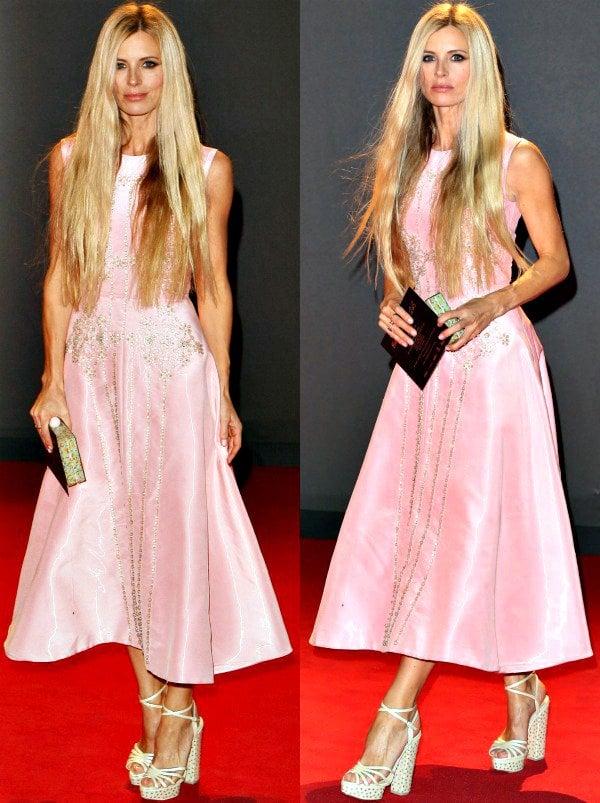Laura Baileyin a cotton candy pink frock from Roksanda Ilincic at the 2013 British Fashion Awards