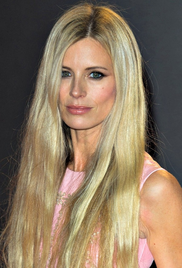 Laura Bailey's long locks were kept simple and straight so as not to compete with the gold embellishments on her dress