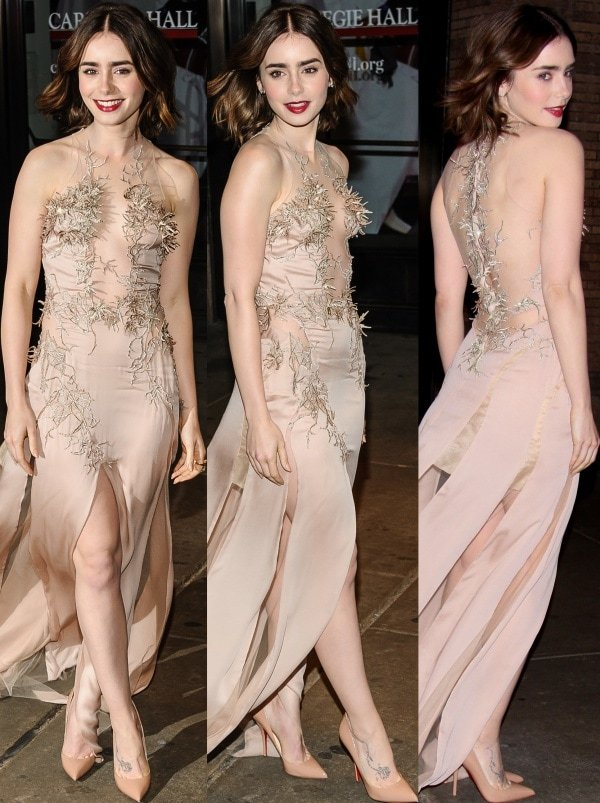 Lily Collins in a fabulous nude silk gown with intricate embroidery, sheer panels, and flirty slits from Julien Macdonald's Spring 2014 collection