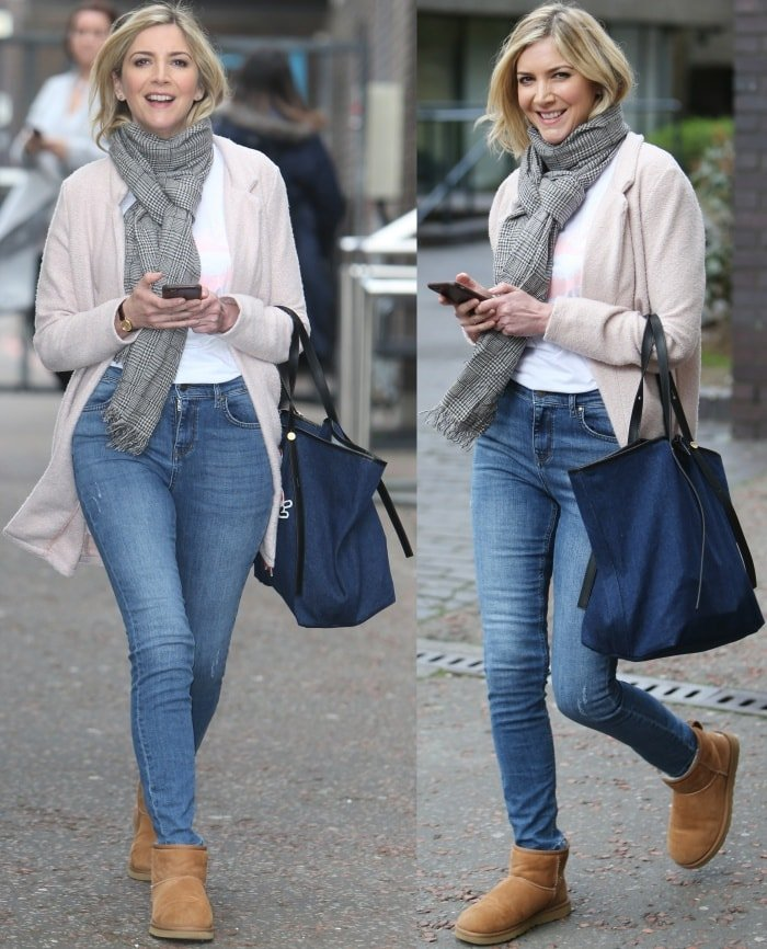 Lisa Faulkner wearing Uggs with jeans