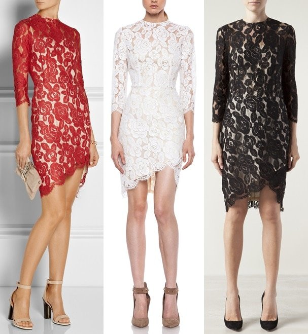 Lover Rosebud Lace Dress in Bordeaux, White, and Black