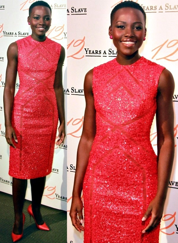 Lupita Nyong'o painted the town red in spicy heels from Nicholas Kirkwood at the Paris premiere of '12 Years a Slave'