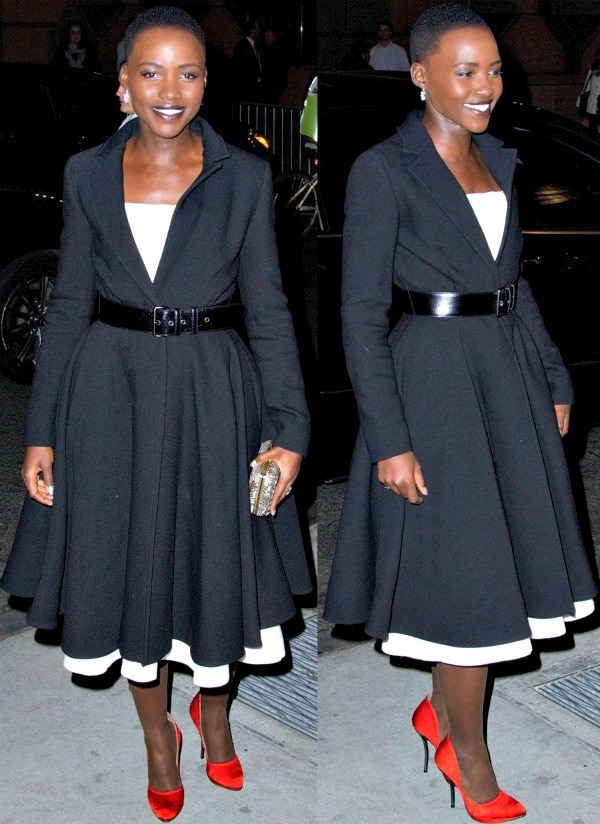 Lupita Nyong'o made a stylish entrance in a belted black coat