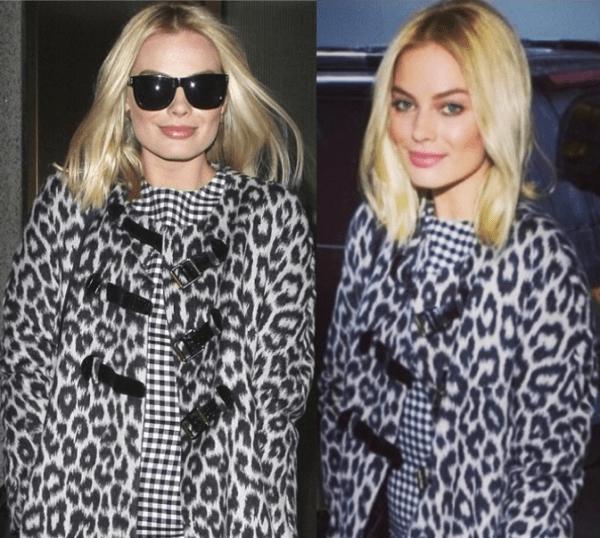 Margot Robbie wearing a leopard-printed wool coat from Paule Ka over a black-and-white gingham shift dress from Oscar de la Renta