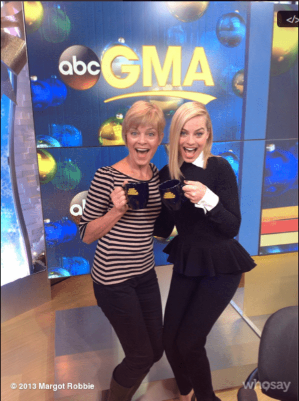 Margot shared a photo on her Twitter that showed her and her mother holding coffee cups from ABC's Good Morning America