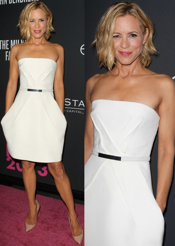 Maria Bello styled her structured frock with soft curls, pink lips, and a classic pair of nude pumps from Christian Louboutin to cap off her simple yet elegant look.