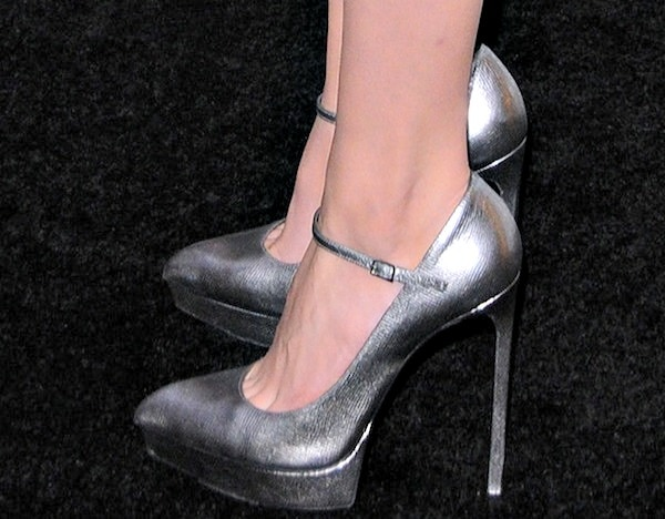 Nicola Peltz shows off her feet in Mary Jane metallic platform pumps