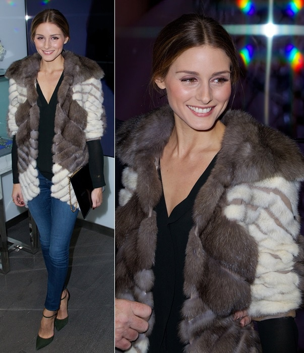 Olivia Palermo wears her hair back at the Dennis Basso flagship store opening