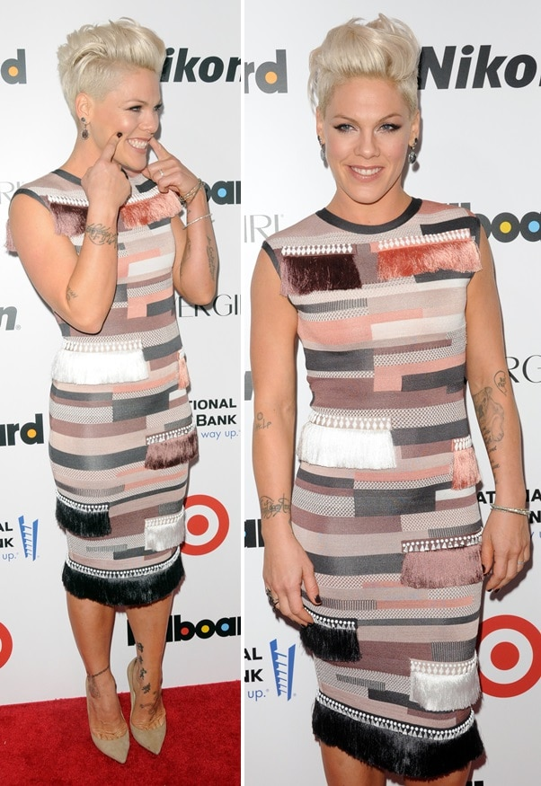 Pink in Jimmy Choo pumps and a Herve Leger dress at Billboard's Annual Women in Music