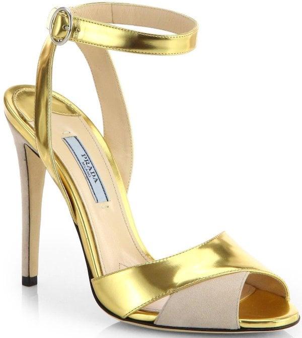 Prada Metallic Leather and Suede Evening Sandals